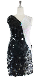 In-Stock Short Sequin Dress, In Black And White (STS2018-007)