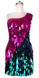 Short Handmade Rectangle Paillette Sequin Dress in Fuscia and Green with One-shoulder Cut front view