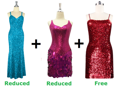 Buy 1 Long Handmade & 1 Short Sequin Fabric Dress With Discounts On Each & Get 1 Short Sequin Fabric Dress Free (SPCL-063)