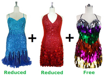 Buy 2 Short Handmade Dresses With Discounts On Each & Get 1 Short Handmade Sequin Dress Free (SPCL-064)