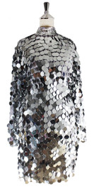 Short Handmade Silver Metallic Sequin Dress With Long Sleeves - Front View