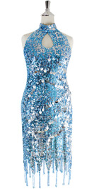 Short Dress In Turquoise Sequin Fabric With Hand Sewn Silver Sequin With Jagged Beaded Hemline - Front View