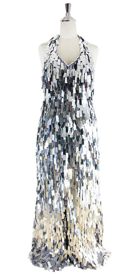 Long Handmade Sequin Dress, In Silver Metallic Sequins - Front View