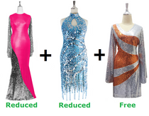 Buy 1 Long Sequin Fabric & 1 Short Sequin Fabric Dress  With Discounts On Each & Get 1 Short Sequin Fabric Dress Free (SPCL-066)
