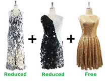 Buy 1 Long and 1 Short Handmade Sequin Dresses With Discounts On Each & Get 1 Short Sequin Fabric Dress Free (SPCL-070)