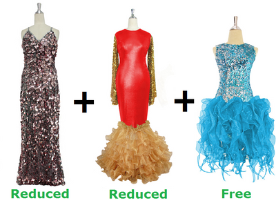 Buy 1 Long Handmade Sequin & 1 Long Sequin Fabric Dresses With Discounts On Each & Get 1 Short Sequin Fabric Dress Free (SPCL-071)