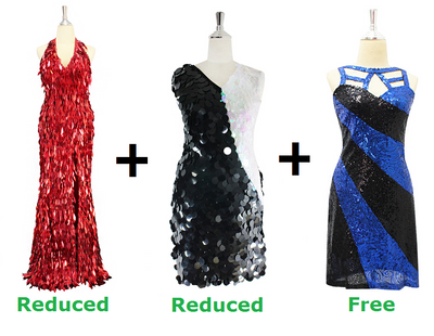 Buy 2 Handmade Dresses With Discounts On Each & Get 1 Short Sequin Fabric Dress Free (SPCL-075)