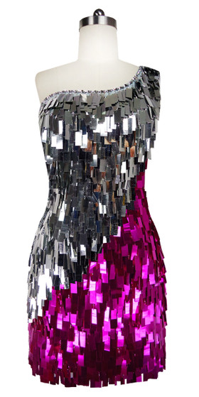 Short Handmade Rectangle Paillette Sequin Dress in Fuscia and Silver with One-shoulder Cut front view