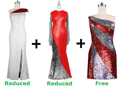 Buy 1 Handmade Sequin Dress & 1 Express Sequin Gown With Discounts On Each & Get 1 Short Sequin Fabric Dress Free (SPCL-078)