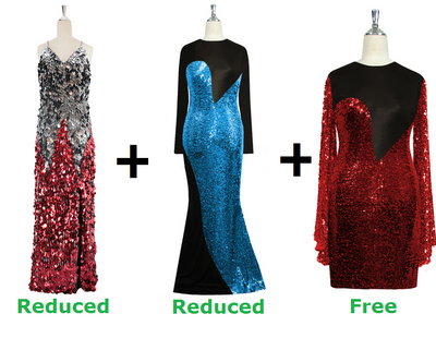 Buy 1 Handmade Sequin Gown & 1 Express Sequin Gown With Discounts On Each & Get 1 Short Sequin Fabric Dress Free (SPCL-079)