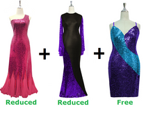 Buy 2 Express Sequin Gown With Discounts On Each & Get 1 Short Sequin Fabric Dress Free (SPCL-080)