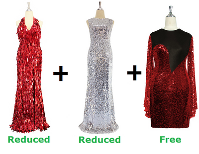 Buy 2 Sequin Gown With Discounts On Each & Get 1 Short Sequin Fabric Dress Free (SPCL-081)
