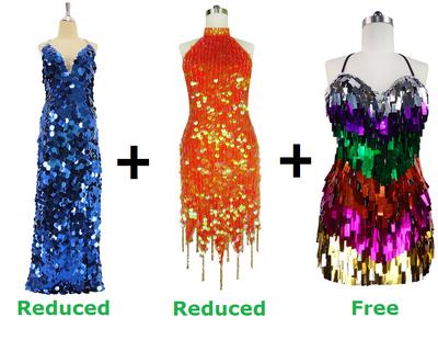 Buy 2 Handmade Sequin Dresses With Discounts On Each & Get 1 Short Handmade Sequin Dress Free (SPCL-083)