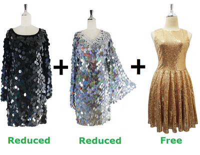 Buy 2 Handmade Sequin Short Dresses With Discounts On Each & Get 1 Short Handmade Sequin Dress Free (SPCL-085)