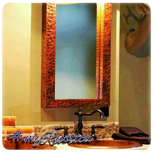 hammered decorative copper mirrors for foyer, living room, bath and fireplace mantel