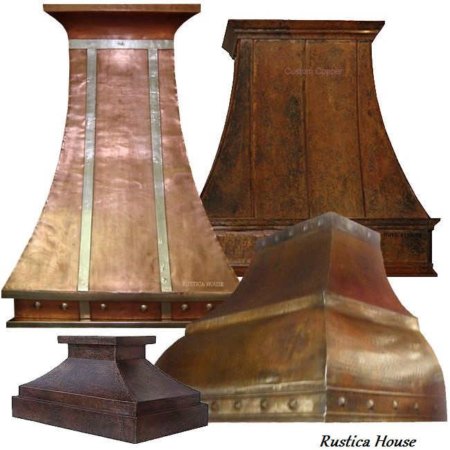custom hammered copper range hoods wall island