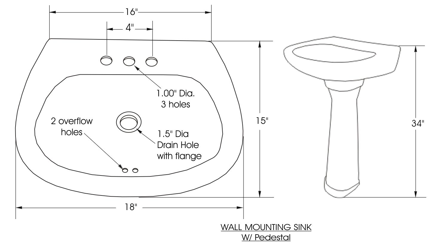 pedestal bath sink dimensions