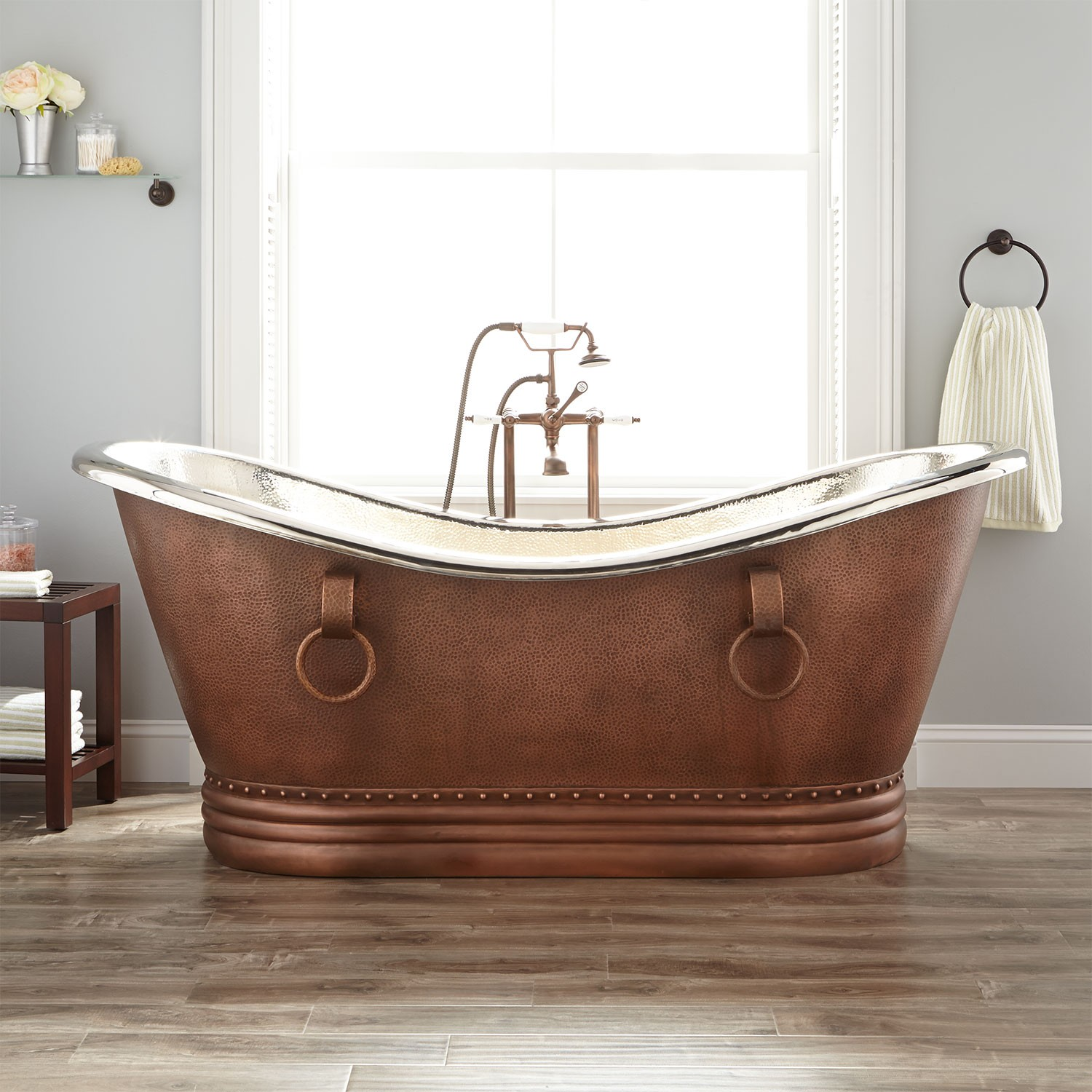 copper tub with nickel finish inside