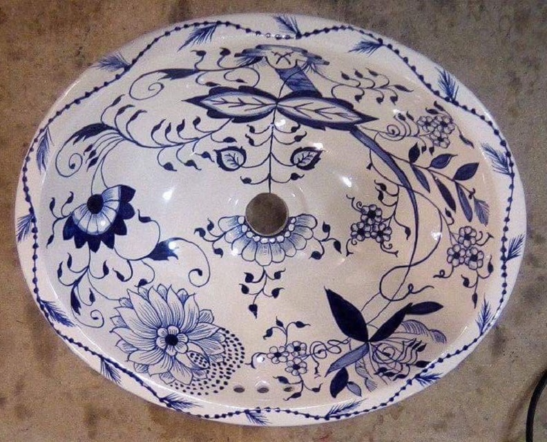 hand painted bathroom sink from Mexico