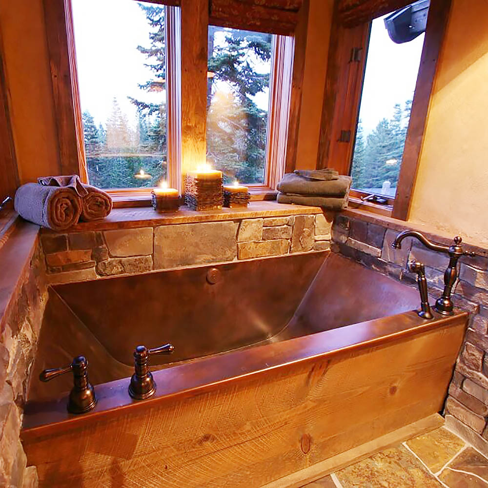 deep copper bathtub