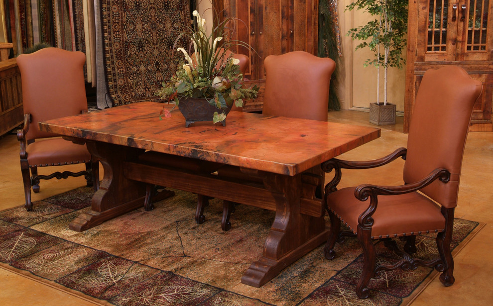 hammered copper dining tables