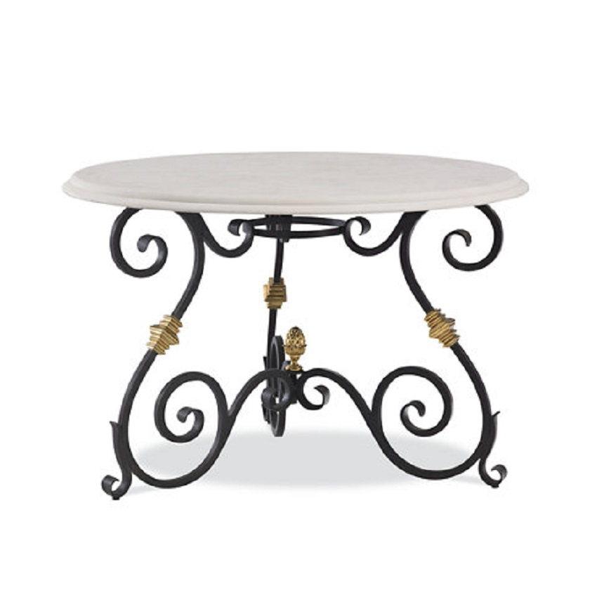 forged iron and rustic table base for an eat-in kitchen dining table