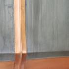 pewter range hood with straps detail