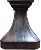 tall copper range hood for high kitchen ceiling
