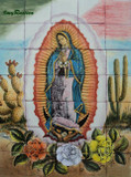 tile mural virgin of Guadalupe and cactus
