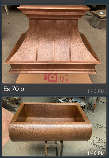 Copper Range Hood with Insert and Kitchen Sink set
