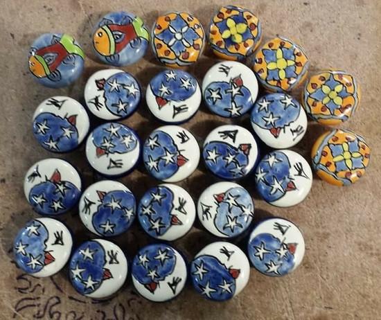 Mexican talavera cabinet knobs pulls