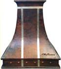 high ceiling rustic copper range hood