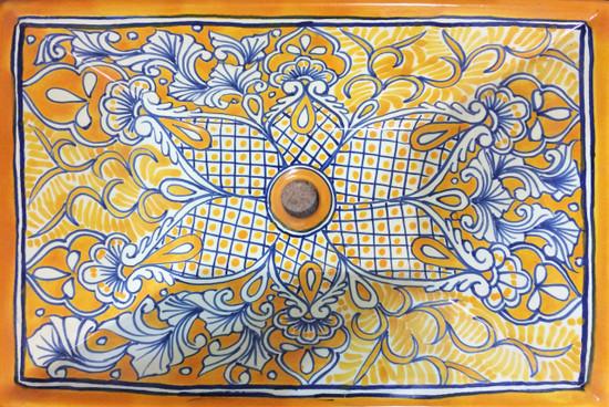 rectangular ceramic vessel sink yellow