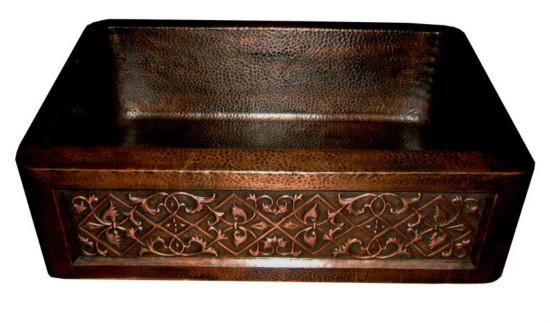 decorative apron copper kitchen sink