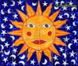 tile mural sun face