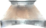 pewter range hood wall and island