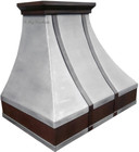pewter range hood with straps