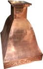 polished copper vent hood side view