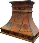 spanish hacienda copper range hood with forged iron