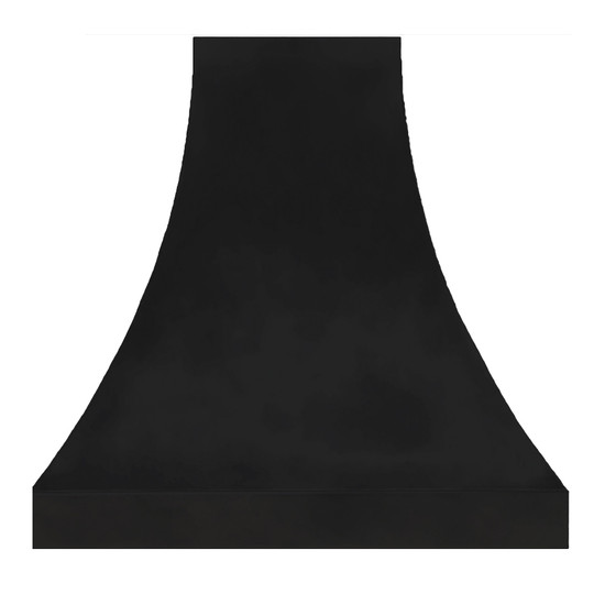 black zinc metal range hood