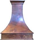 copper ductless range hood wall island