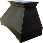 french country zinc range hood side view