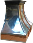 polished zinc range hood with copper straps