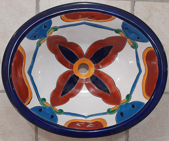 painted Mexican sink for a madrid bathroom