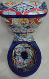 mexican classic colonial blue white toilet