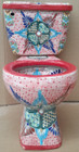 hand painted dallas toilet from Mexico detail