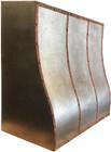 zinc kitchen range hood with copper detail