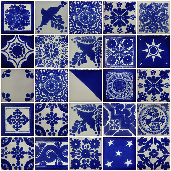 blue and white mexican tile mix