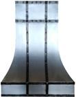 classic zinc range hood with metal straps