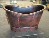 antique copper bathtub with straps